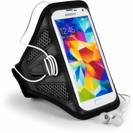 Breathable Mesh Workout Armband with adjustable strap for medium to large built arms fits 5.5in x 2.8in phones (5.25 - 5.6in Screensize)