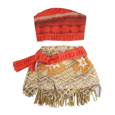 Wenchoice Girls Orange Tan Moana Inspired 2 Piece (Carters 2 Piece Dress)