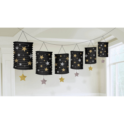 Hollywood 'Glitter Starz' Paper Lantern Garland (12ft)