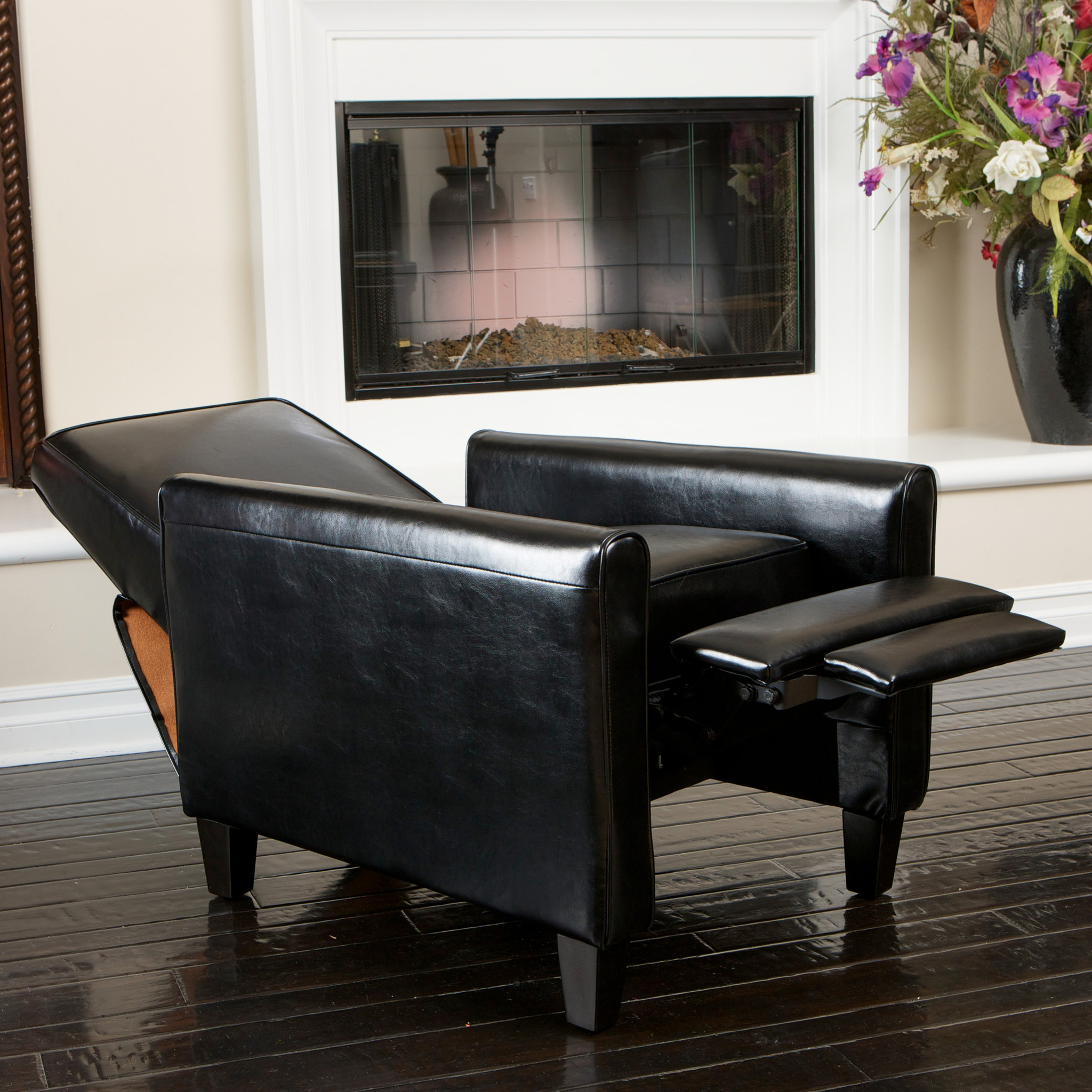 Paris Black Leather Recliner Club Chair