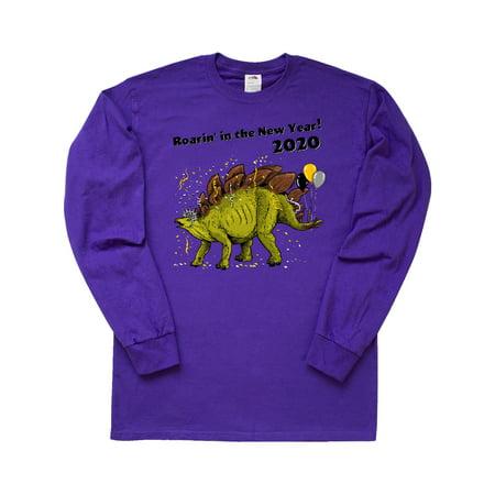 Roarin' in the New Year 2020 Stegosaurus with Balloons Long Sleeve T-Shirt Balloon Sleeve Shirt