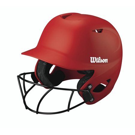 Collegiate 2.0 Fitting Batting Helmet with Softball Mask, Scarlet, Medium, Strategic venting system keeps head cool By Wilson