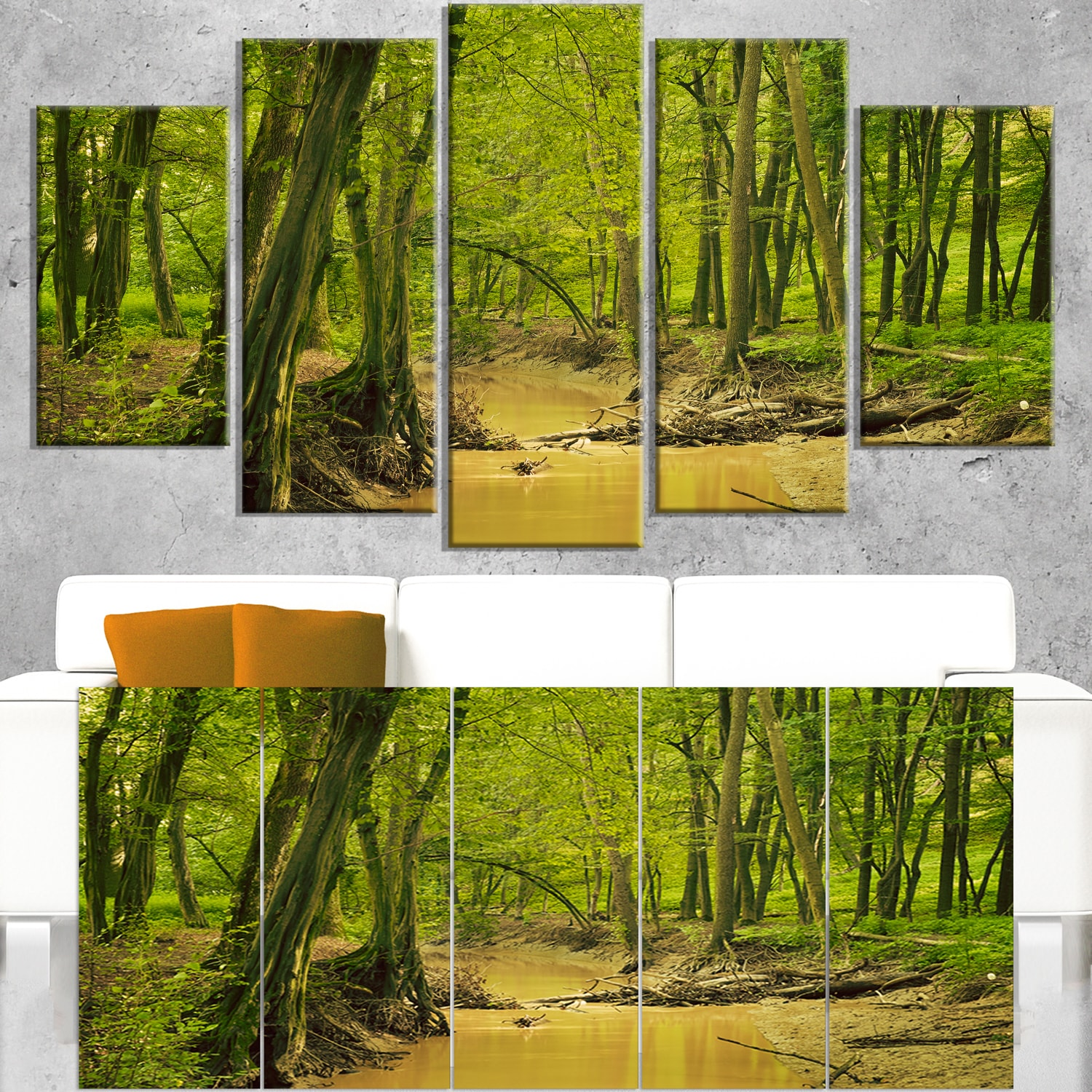 DESIGN ART Creek in Wild Green Forest - Oversized Forest Canvas Artwork 60 in. wide x 32 in. high - 5 Panels Diamond Shape