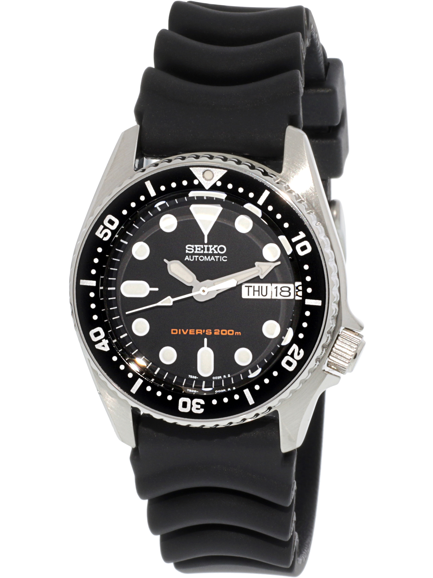 Seiko Men's 5 Automatic SKX013K Black Rubber Self Wind Diving Watch
