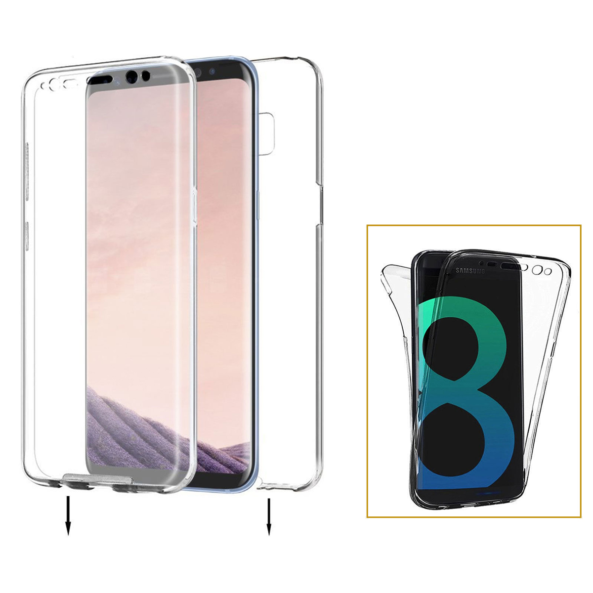 Crystal Clear Cover Full Body Protective Case For Samsung Galaxy S8 / S8+ Plus