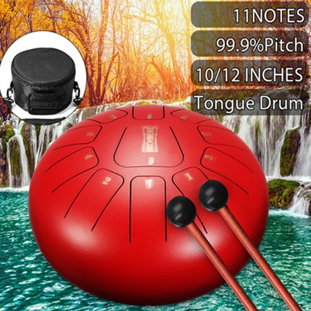 10 inch red steel tongue drum handpan drum hand drum d major 11 tones percussion instrument with. Black Bedroom Furniture Sets. Home Design Ideas