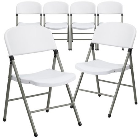 Flash Furniture 6pk HERCULES Series 330 lb. Capacity White Plastic Folding Chair with Gray Frame ()