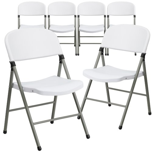 Flash Furniture 6pk HERCULES Series 330 lb. Capacity White Plastic Folding Chair with Gray Frame