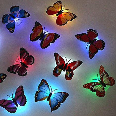 - Firefly 10 pack Romantic Magic Colorful Butterfly Decorative Light/Sucker LED Colorful Butterfly Night Light-10PCS, Optional Suction Cup Included to.., By Emazon