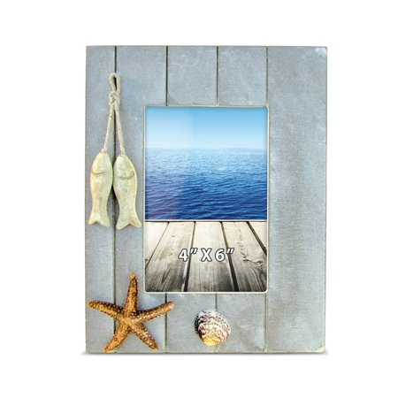 Puzzled Distressed Wooden Picture Frame with Hung Fishes Starfish & Seashells, 4 X 6 Inch Rustic Photo Holder Intricate Wood Art Handcrafted Tabletop Accessory Nautical Themed Home Accent D?cor ()