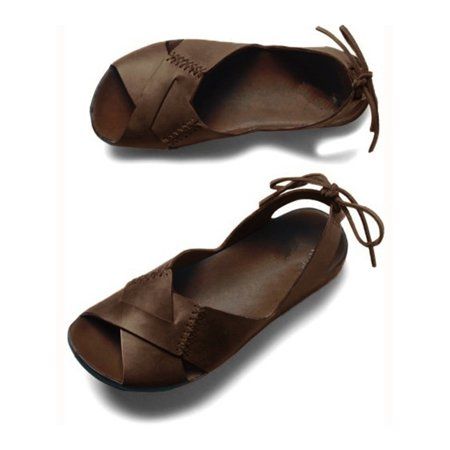 Women Bandage Flat Shoes Brown Leather Sandals Open Toe