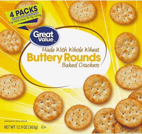 (3 Pack) Great Value Whole Wheat Buttery Rounds, 12.9 oz