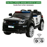 XGEEK 12V Kids Police Ride On Car Electric Cars 2.4G Remote Control, LED Flashing Light, Music & Horn.