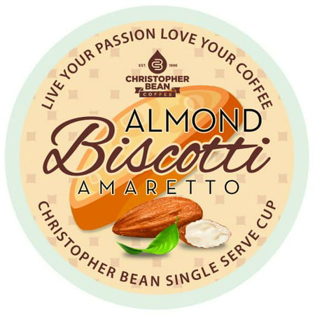 Christopher Bean K-Cup Coffee Pods, Amaretto Almond Biscotti, 12 Count for Keurig Brewers