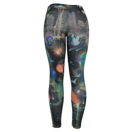 Dinosaurs Fireworks and Aliens Ladies Basic Leggings Shear - Alien Pants