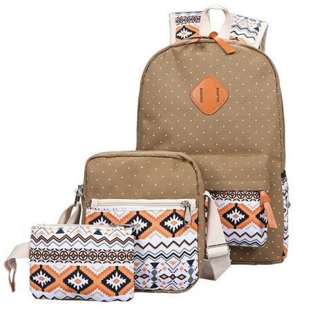 3pcs/set national wind handbags cotton canvas shoulder bag travel backpack casual student