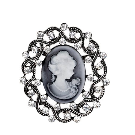 - Crystal Cameo Brooch Pendant Antique Silver Tone Color Woman Classic Style Jewelry BROOCH-2