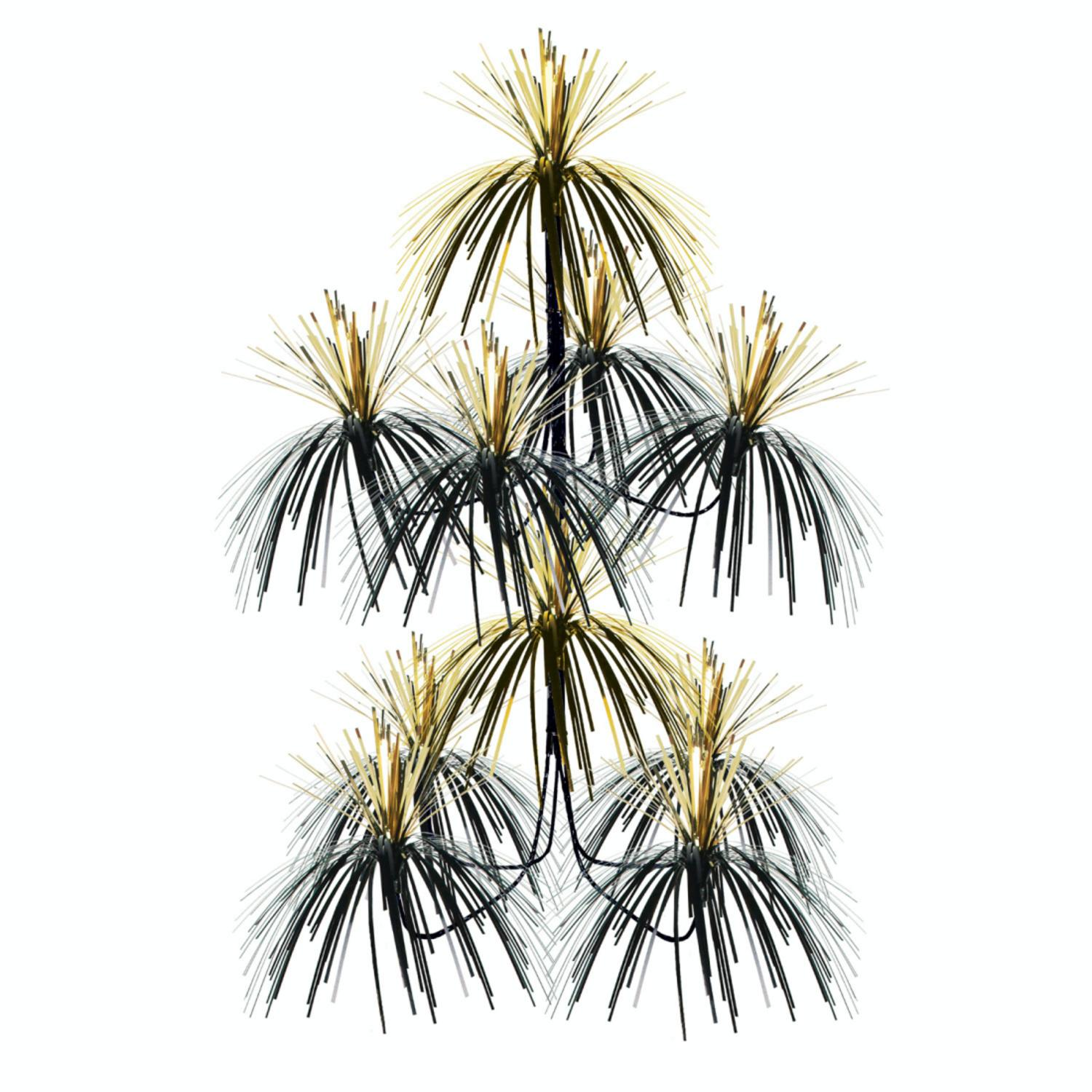 Club Pack of 12 Metallic Black and Gold Firework Chandelier Hanging Party Decorations 24""
