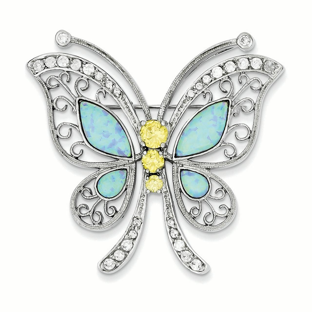 Lex & Lu Sterling Silver Created Opal w Yellow and Clear Cubic Zirconia Butterfly Pin by