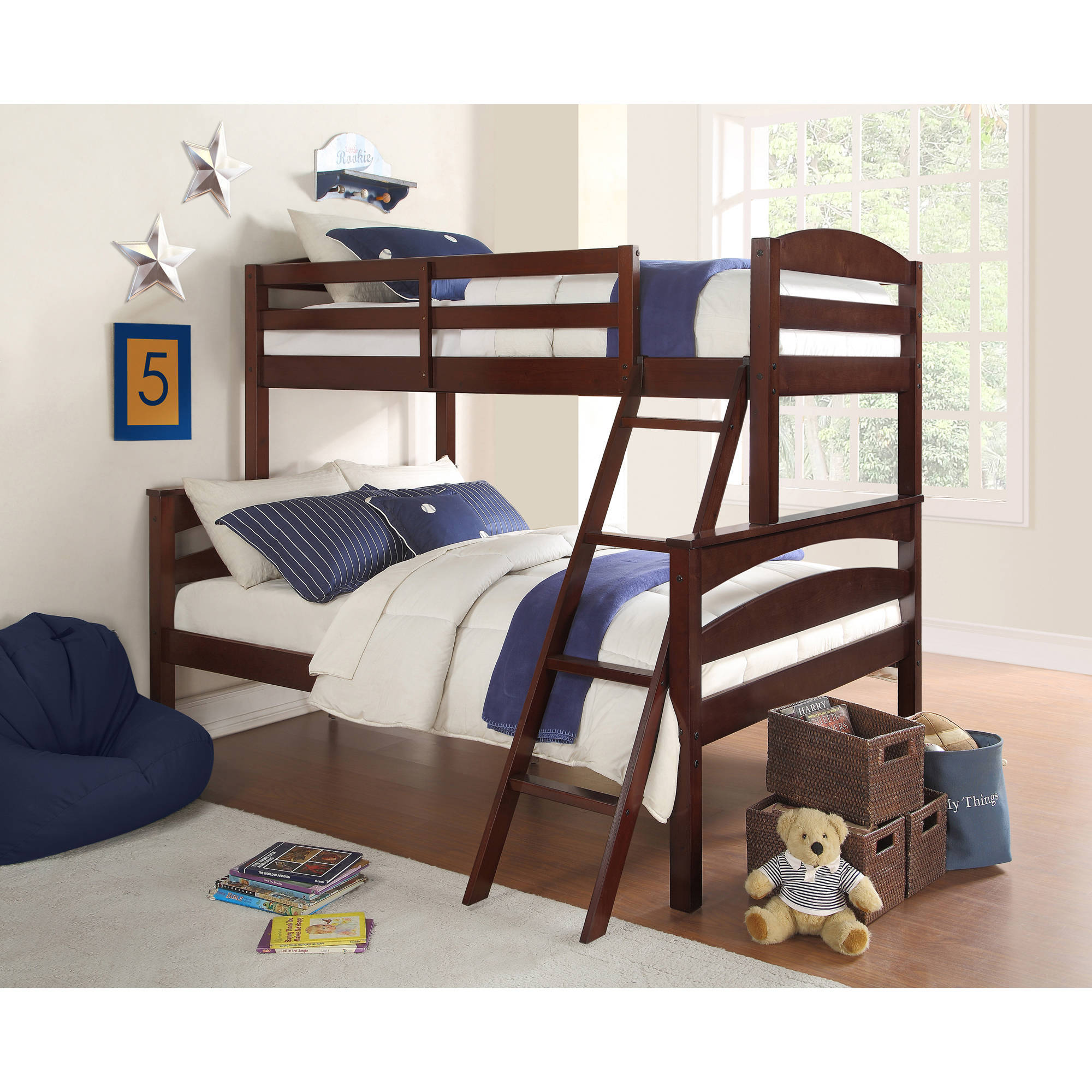 Dorel Living Brady Twin Over Full Wood Bunk Bed, Multiple Colors