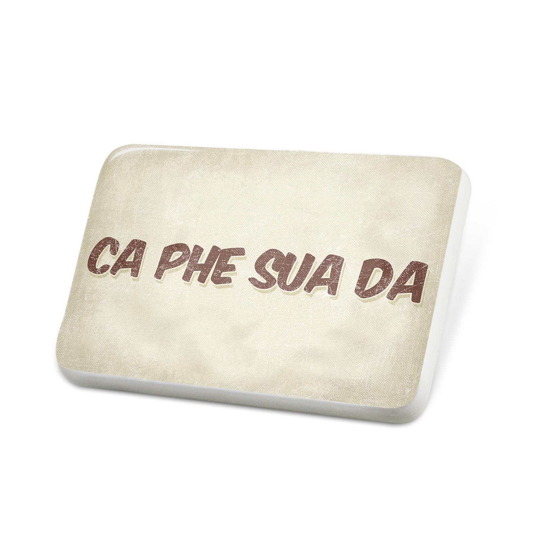 Porcelein Pin Ca phe sua da Coffee, Vintage style Lapel Badge – NEONBLOND