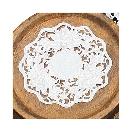 Xia Home Fashions Daisy Garden Embroidered Cutwork Round Doily (Set of 4)