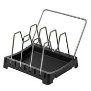 Pan Lid Organizer Adjustable Pan and Lid Rack Kitchen Cookware Bakeware Holder Stainless Steel Pantry Cabinet Storage Rack
