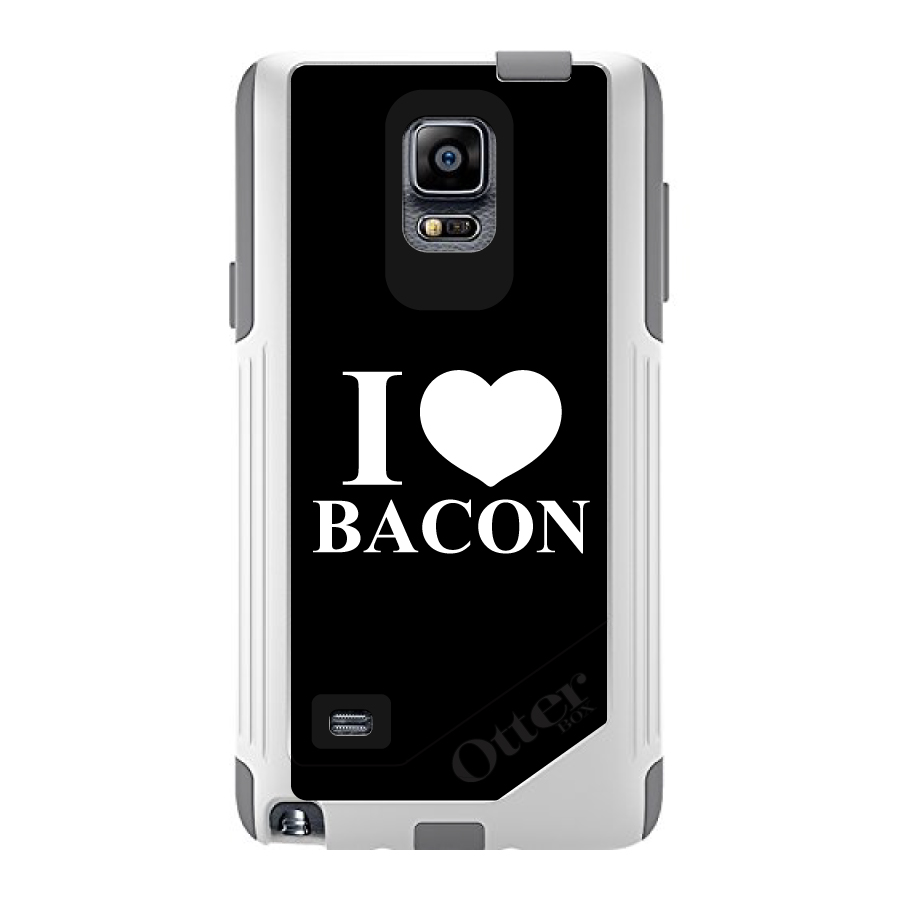 CUSTOM White OtterBox Commuter Series Case for Samsung Galaxy Note 4 - Black White I Heart Bacon