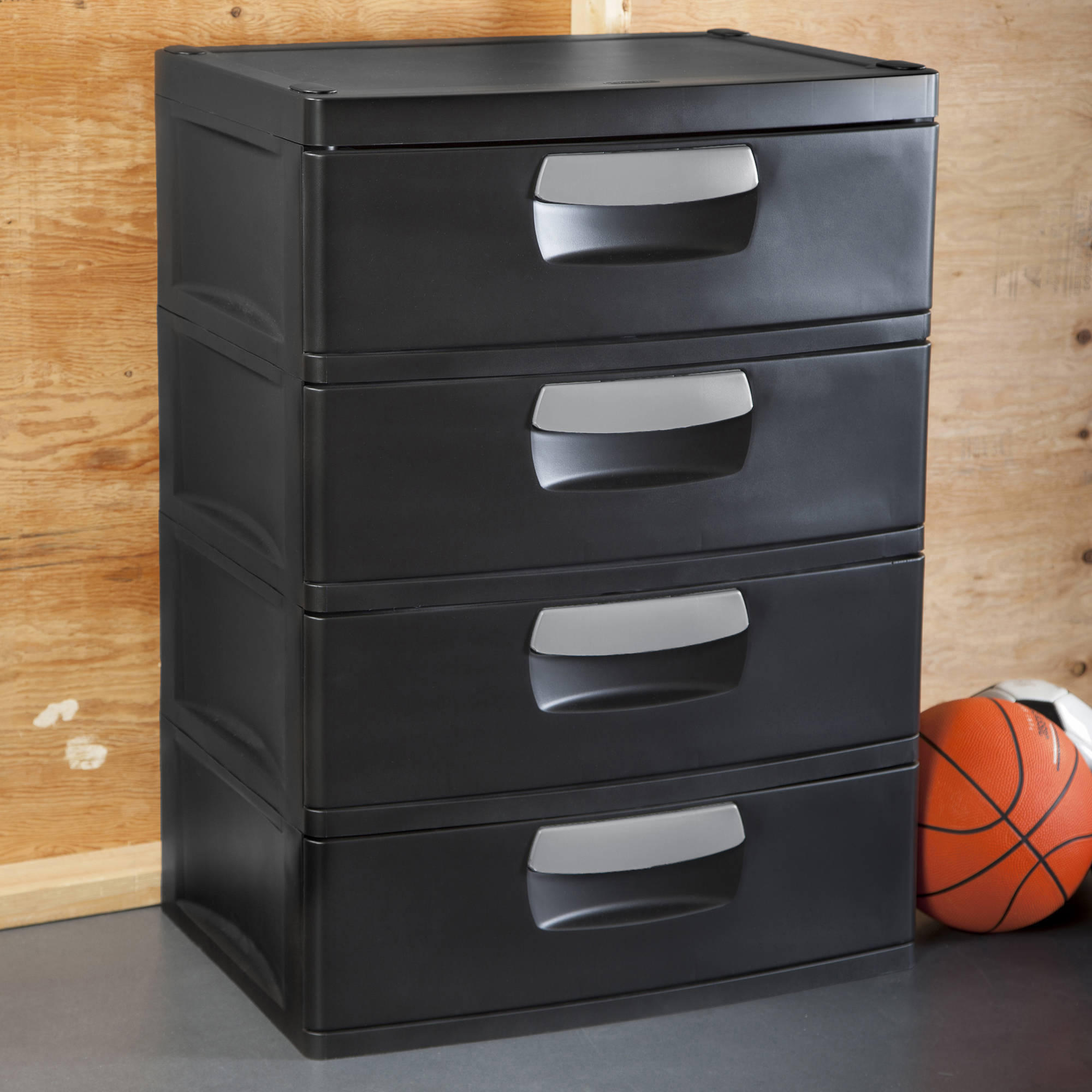 Sterilite 4-Drawer Cabinet, Black