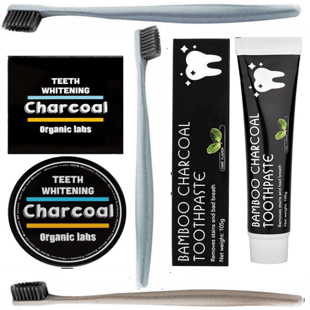 Teeth Whitening Bundle - Bamboo Charcoal Toothpaste + Activated Coconut Charcoal Powder + 3 Wheat Straw Toothbrushes (Bamboo Charcoal Toothpaste)