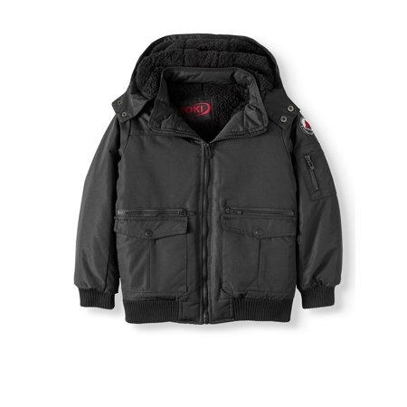 c6933afdb Big Boys' Bomber Jacket With Removable Hood and Sherpa Lining