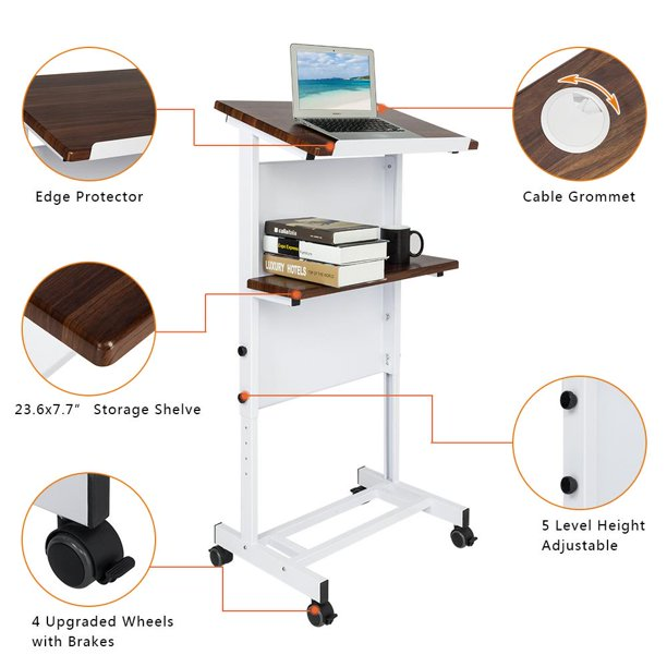 UBesGoo Stand Up Desk Store Mobile Adjustable Height Lectern