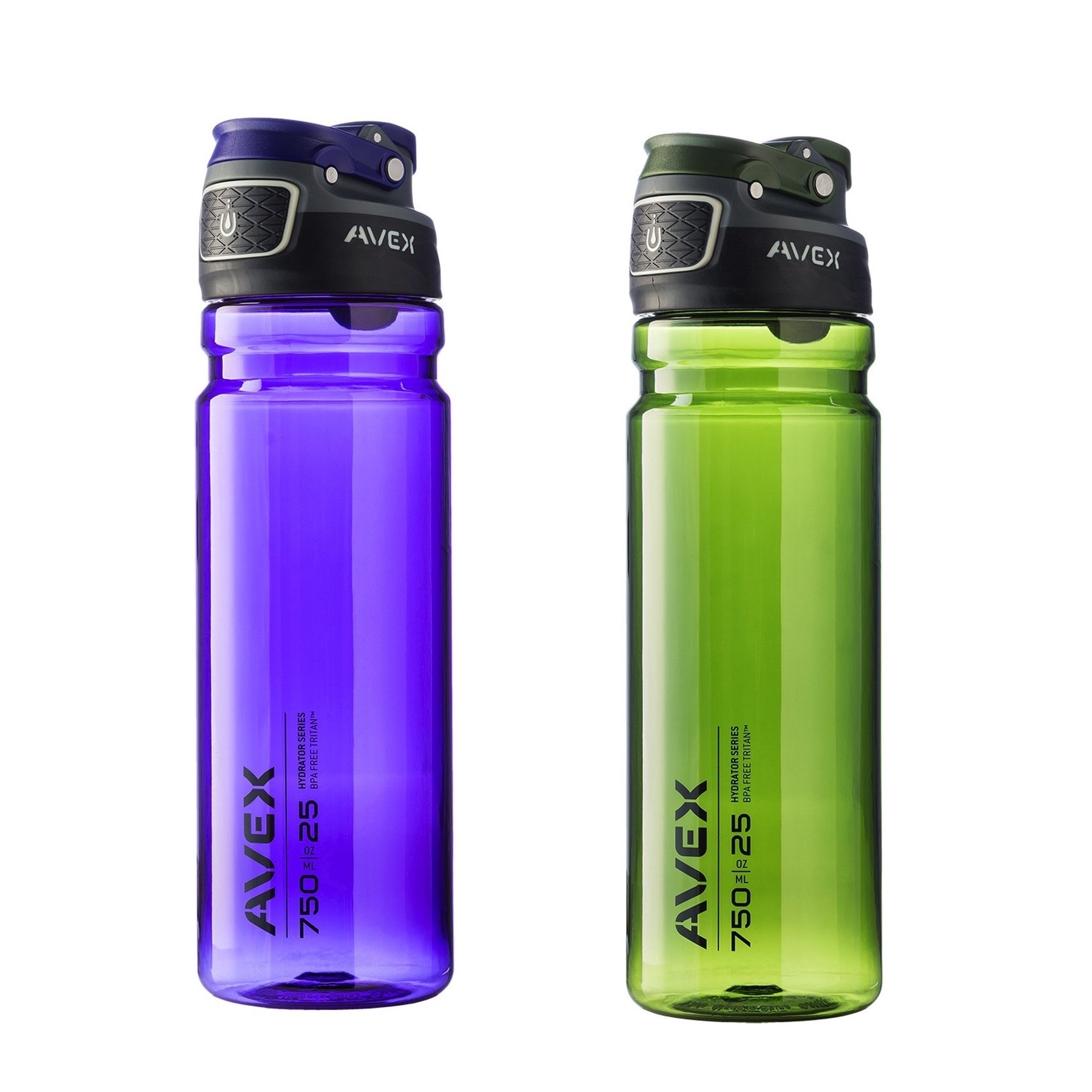Avex FreeFlow Autoseal 25oz Plastic Water Bottle Combo Pack Olive Green & Purple