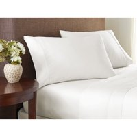 Color Sense 325 Thread Count Cotton Sateen Sheet Set Queen White