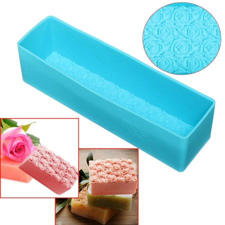 New Blue Rectangle Rose Silicone Soap Mold  Toast Baking Bread Loaf Cake Tool DIY Chocolate Mould 10.4 X 2.8 X 2.8