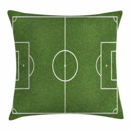 Teen Room Decor Throw Pillow Cushion Cover, Soccer Field Grass Motif Stadium Game Match Winner Sports Area Print, Decorative Square Accent Pillow Case, 16 X 16 Inches, Fern Green White, by Ambesonne - Soccer Room Decor