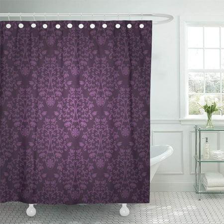 Purple Damask (KSADK Purple Damask Floral Pattern Vintage Violet Blossom Abstract Curl Flower Foliage Shower Curtain 66x72 inch)