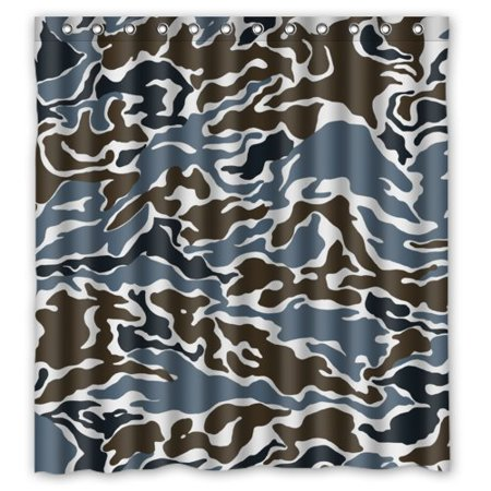 HelloDecor Military Army Soldier Uniform Grey And Brown Camos Shower Curtain Polyester Fabric Bathroom Decorative Curtain Size 66x72 Inches (Grey Military Uniforms)