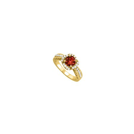 Jewelry January Birthstone Garnet and CZ Yellow Gold Filigree Engagement Ring in Unique Design - image 1 of 1