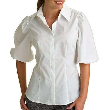 ac4ffb64 z.b.d. designs - Women's Puff-Sleeve Button-Down Shirt - Walmart.com