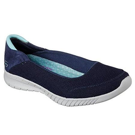 Skechers Wave Lite Don't Mention It Womens Slip On Skimmer Sneakers Navy/Aqua (Skechers Womens Microburst One Up Skimmer Sneaker)