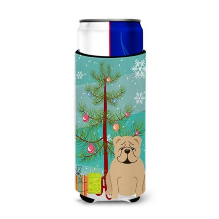 Merry Christmas Tree English Bulldog Fawn Michelob Ultra Hugger for Slim (Bulldog Fawn)