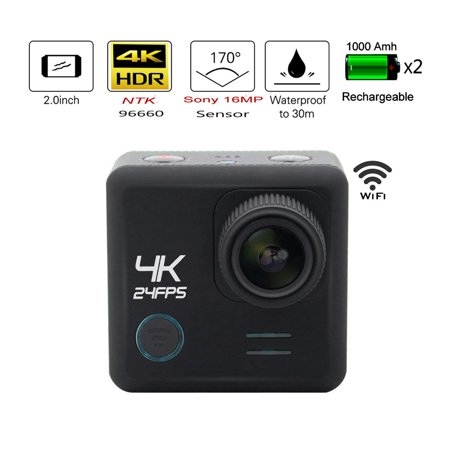 Egovo 64GB 4K Action Camera 16MP with Sony Sensor UHD WIFI Waterproof Sports Video Cam 2 Inch 2 Batteries 23 F