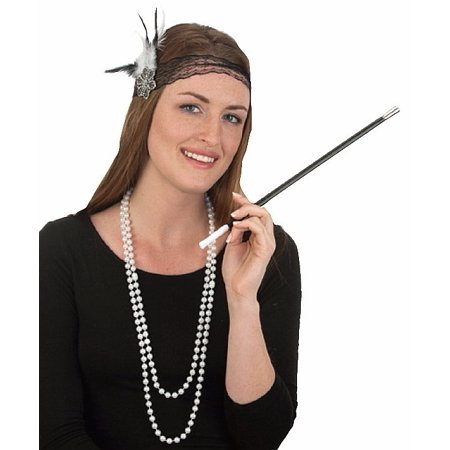 Roaring 20's Flapper Beads Cigarette Holder Headband Costume Accessory (20's Costumes Australia)