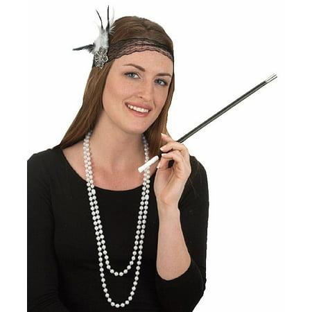 Roaring 20's Flapper Beads Cigarette Holder Headband Costume Accessory (Male Roaring 20's Costume)