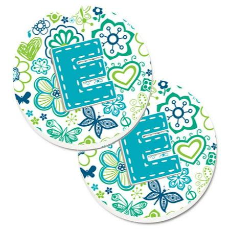 Carolines Treasures CJ2006-ECARC Letter E Flowers & Butterflies Teal Blue Set of 2 Cup Holder Car Coaster - image 1 of 1