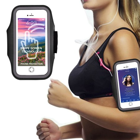 EEEKit Armband, Sweatproof Cell Phone Armband Fitness Sports Pouch Case with Key/Card Holder & Headphone Port for Gym Running Jogging Exercise Compatible with iPhone Samsung All Smartphone ()