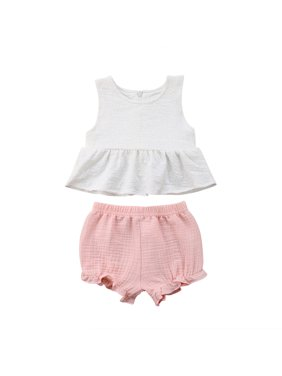 33ea33684 Product Image Newborn Baby Girls Summer Outfit Clothes White Vest Tank Tops  Ruffle Dress+ Shorts Pants Set Pink