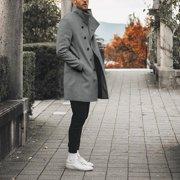 Men Long Sleeve Turndown Collar Wool Coat