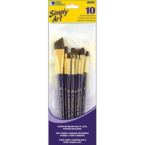 Loew-Cornell Simply Art Brown Nylon Brush Set, 10-Pack